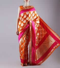Orange Banarasi Silk Saree Indian Attire, Indian Ethnic Wear, Indian Dresses, Indian Outfits, Desi Clothes, Asian Clothes, Indian Goddess, Indian Clothes Online, Designer Silk Sarees