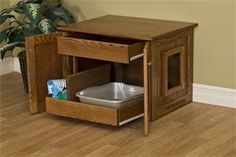 Amish Hardwood Enclosed Cat Litter Box | Amish Made Cat Supplies 14700