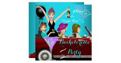 Bachelorette Party Teal Blue Purple Fun Limo Car Cocktails Drinks. Invitation All Occasions Party Bachelorette Girls Night Out Hens Party. Customize with your own details and age. Template for Sweet 16, 16th, Quinceanera 15th, 18th, 20th, 21st, 30th, 40th, 50th, 60th, 70th, 80th, 90, 100th, Fabulous product for Women, Girls,  Zizzago created this design from Copyright Images from Delightful-Doodles.com. PLEASE NOTE all flat images! They Do NOT have real Glitter, Diamonds Jewels or real…