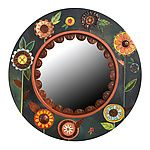 Floral Circle Mirror by Sticks - (Wood Mirror) Mirror Mosaic, Wood Mirror, Large Circle Mirror, Paisley Art, Hand Stamped Metal, Copper Accents, Round Mirrors, Painting On Wood, Tole Painting