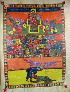 The Morgan Beatus manuscript http://www.library.arizona.edu/exhibits/illuman/images/full_resolution/9-10_06.jpg