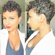 26 cortes de pelo Afro Sure-Fire: corte de cabello fresco Love Hair, Great Hair, Awesome Hair, Pixie Cut Blond, Curly Pixie, Pixie Cuts, Curly Hair Styles, Natural Hair Styles, Updo Curly