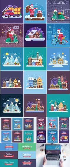 New Year and #Christmas #Illustrations and #Cards Bundle   #masterbundles #NewYear