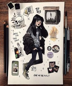 M O O D B O A R D 🖤🕯 What's your favorite music genre? Someone suggested me to do metalhead girl mood board but it was harder than I… music genres Art Drawings Sketches, Cute Drawings, Hipster Drawings, Pencil Drawings, Art Du Croquis, Art Mignon, Arte Sketchbook, Cute Art Styles, Pretty Art