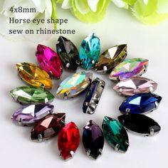 4x8mm 50 unids/lote Opal Cristal Del Ojo Del Caballo de cristal Sew En Rhinestone con la Garra se aplican a la Ropa Decoración