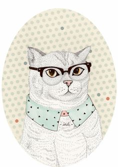 Fancy Cat in Glasses and a Collar Shirt (living room s wall)
