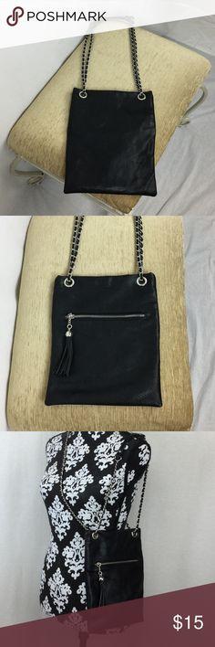 NWOT Black KIDS shoulder bag or hand bag. Zip pocket in front with tassel. Snap on top. Accessories Bags