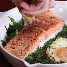 Eat Stop Eat To Loss Weight - One-Pan Salmon And Egg Bake - In Just One Day This Simple Strategy Frees You From Complicated Diet Rules - And Eliminates Rebound Weight Gain Fish Recipes, Seafood Recipes, Dinner Recipes, Cooking Recipes, Healthy Recipes, Keto Recipes, Salmon Dishes, Fish Dishes, Salmon Meals