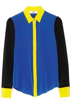 Prabal Gurung Color-block silk crepe de chine blouse