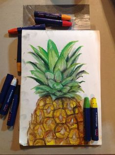 pineapple oil pastel painting, art, pineapple fruit, oil pastels, tonal study, staedtler, cool