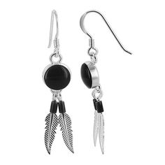 Sterling Silver 8mm Round Black Onyx with Beads and Silver Feathers French Ear Wire Dangle Earrings | Earrings | OneStopPlus