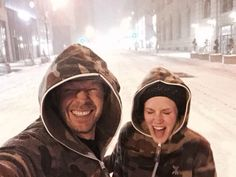 Donnie Wahlberg and Jenny McCarthy outside in the snow in NYC during Blizzard of 2015