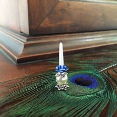 Dolls House Dollhouse 1:12 Miniature Fancy Candle Holder Candlestick Blue Rose