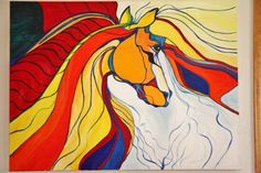 Abstract Art Original Oil Painting Bold Horse