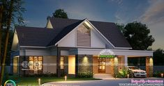 2490 square feet 3 BHK Sloping roof home Single Floor House Design, House Roof Design, Simple House Design, Home Building Design, Bungalow House Design, Small Modern House Plans, New House Plans, Modern Houses, Roof Styles