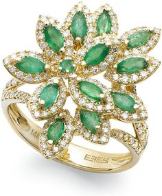 Brasilica by EFFY Emerald (1-1/16 ct. t.w.) and Diamond (5/8 ct. t.w.) Flower Ring in 14k Gold on shopstyle.com