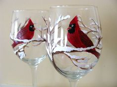 Cardinal Wine Glasses Hand Painted by CANADIANCREATIONZ on Etsy, $50.00