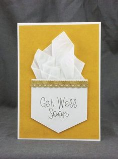 Handmade Get Well Soon Card by CraftyGalCards on Etsy Diy Cards Get Well, Get Well Gifts, Scrapbooking, Scrapbook Cards, Feel Better Cards, Greeting Cards Handmade, Easy Handmade Cards, Homemade Greeting Cards, Making Greeting Cards