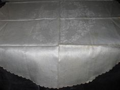 antique never used violets ivory linen damask centerpiece tablecloth, embroidered scallops