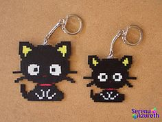 Cat keyring with perler hama beads