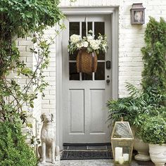 farmhouse front door entrance design ideas tips on selecting your front doors 48 Front Door Entrance, Front Door Colors, Front Door Decor, Entry Doors, Gray Front Doors, Grey Doors, Outdoor Candle Lanterns, Fachada Colonial, Building A Porch