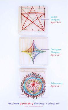 Math Art Idea: Explore Geometry Through String Art - Babble Dabble Do Math For Kids, Science For Kids, Tangram, Geometry Art, Geometry Tattoo, Sacred Geometry, Math Class, Maths, Fun Math