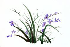 Espigas violeta, 2014. Sumi-e, tintas sobre papel  en soporte rígido de 22,5 x  32,5cm. Alesso, Plants, Antique China, Ink, Paper Envelopes, Art, Plant, Planets
