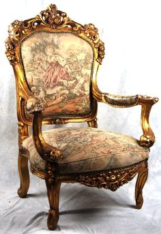 ANTIQUE FRENCH 19TH C. ROCOCO ORNATE GILT WOOD AUBUSSON TAPESTRY FAUTEUIL