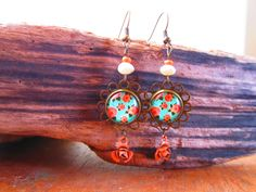 Boucle d'oreille antique fleuri corail et turquoise ,pendent d oreille, vintage corail et turquoise,retro de la boutique SharlyCreations sur Etsy