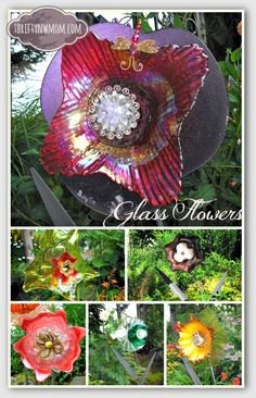 Using recycled glass to make glass flowers. Great gift for the gardener.