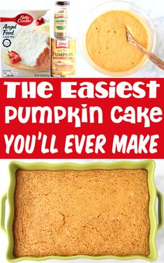 Pumpkin Cake Mix Recipes - Easy Angel Food Dessert! With just 3 ingredients, this fluffy and delicious cake couldn't be any EASIER!! Go grab the recipe and give it a try this week for a fun new treat!