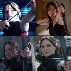 Notice how, over time, the shot gets lower and more in her line of sight, almost like she's finally beginning to see the threat of the Captiol for what it is and beginning to realise that it has to be taken down.....