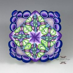 Polymer Clay Ring Bowl, Lime Green, Violet, and Blue. Purple's not my favorite color, but I love these canes. By Kate Tracton