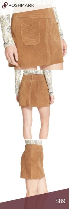 NWT free people modern love mini suede skirt Free People taps into the season's new boho trend with this sleek suede mini skirt, flaunting a '60s-inspired silhouette bedecked with patch pockets and tonal embroidery for a carefree finish. Fits true to size, order your normal size Designed for a contemporary fit Banded waist, two front patch pockets Tonal embroidery, A-line silhouette Concealed back zip closure, lined Free People Skirts Mini