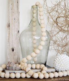 Wood Bead Garland Clothes Line Home Decor Beach Scandinavian 30mm Beads