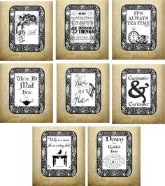Vintage inspired Alice in Wonderland 8 tea bag envelopes party favor  #Handmade #Party