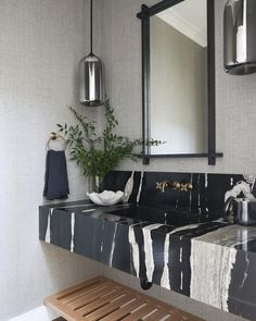 Home Decoration Ideas Interior Design Gorgeous black and white marble wash basin counter top with gold tap fixtures. Decoration Ideas Interior Design Gorgeous black and white marble wash basin counter top with gold tap fixtures. Home Decor Kitchen, Home Decor Bedroom, Wash Basin Counter, Counter Top, Bathroom Interior Design, Interior Decorating, Counter Design, Black And White Marble, Luxury Homes Interior
