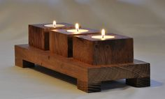 T Tea Tee light Wooden Chunky Solid Oak candle holder, centre piece ideal GIFT Love these..... selling on eBay.