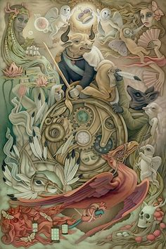 Wheel of Fortune by Heather Watts for Lowbrow Tarot. The deck itself is majors-only. It's also compiled anthology-style with works from a number of artists, including works that really don't speak to me. Art And Illustration, Wheel Of Fortune Tarot, Art Beauté, Tarot Major Arcana, Cartomancy, Lowbrow Art, Pop Surrealism, Tarot Decks, Tarot Cards