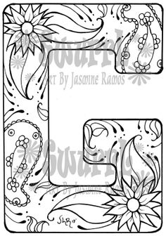 Instant Download Coloring Page Monogram Letter G By Swurrl On Etsy, $0.99