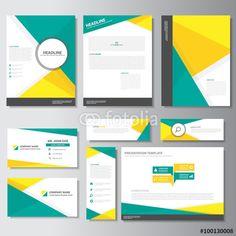 Vector: Yellow green business template presentation Infographic elements flat design set for brochure flyer leaflet marketing advertising