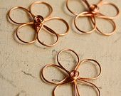 Wire Flower Solid Copper - Large - Handmade Wirework Connector, Charm, or Pendant
