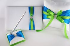 Ring bearer Pillow,Flower Girl Basket,Guest Book and pen set-Turquoise and Apple Green