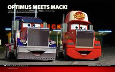 Optimus meets Mack by ~danyboz on deviantART Mack Trucks, Toy Trucks, Semi Trucks, Disney Pixar Cars, Disney And Dreamworks, Cars 2 Movie, Cars Series, Audi Cars, Lightning Mcqueen