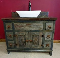This RUSTIC BATHROOM VANITY Features A Hammered Copper Sink And A - 24 inch rustic bathroom vanity