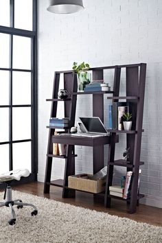 Altra Furniture Espresso Ladder Bookcase with Desk