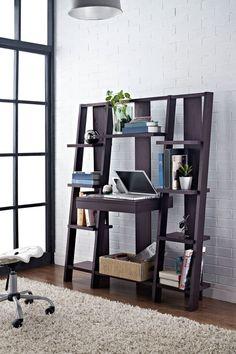 Altra Furniture Espresso Ladder Bookcase with Desk