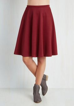 En Pointe Accompanist Skirt in Burgundy. Flaunt grace and glamour as you tickle the ivories at tonight's show in this deep red skirt! #red #modcloth