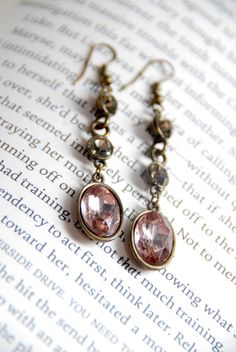 pink antique brass earrings
