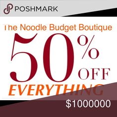 Everything 50% off! 🦃🍂🍁Like and Share! Everything is marked down!  See something you like, just submit an offer for 50% of the listed price; no questions asked. And receive an additional $5 off your first purchase with my referral code NRLRL.  Sale ends 11/27 at Midnight #thenoodlebudget #fashion #namebrands #jeans #tops #coats #shoes #handbags Other